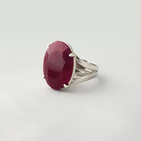 Multi-Facet Ruby Silver Ring Large Side