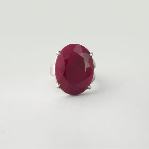 Multi-Facet Ruby Silver Ring Large
