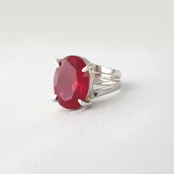 Multi-Facet Ruby Silver Ring Side