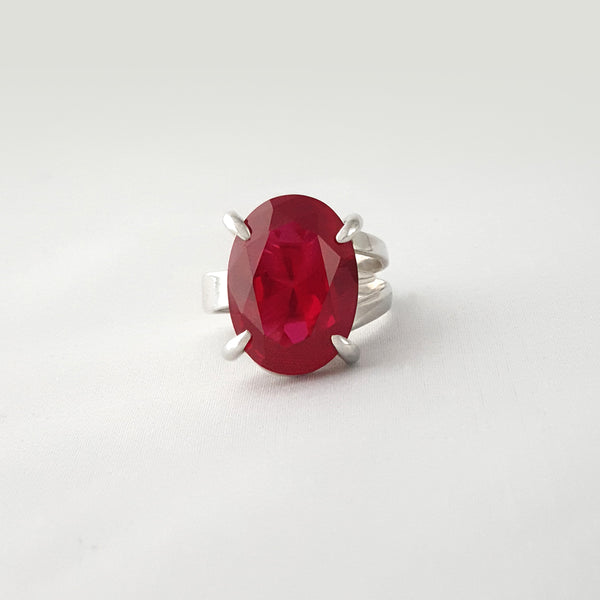 Multi-Facet Ruby Silver Ring