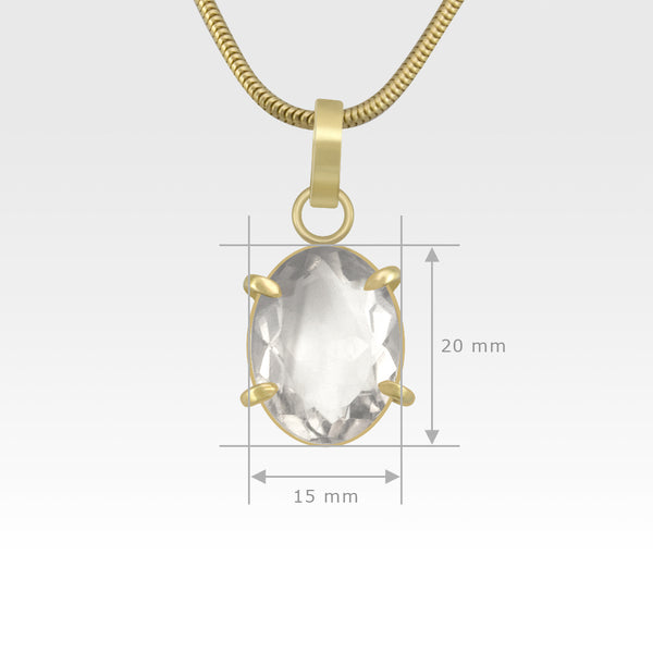 Multi-Facets Clear Quartz Oval Pendant Measurements