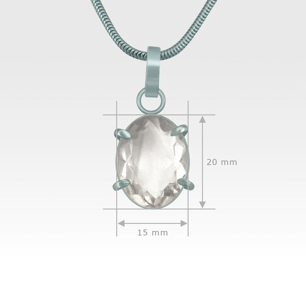 Multi-Facets Clear Quartz Oval Pendant Silver Measurements