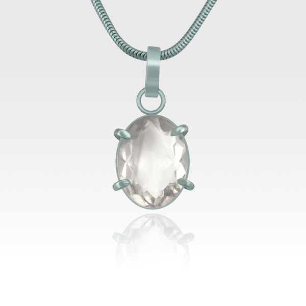 Multi-Facets Clear Quartz Oval Pendant Silver