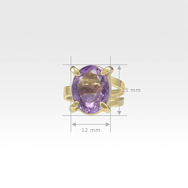 Multi-Facets Amethyst Oval Ring Measurements