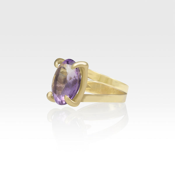 Multi-Facets Amethyst Oval Ring Side View
