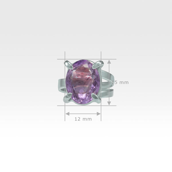 Multi-Facets Amethyst Oval Ring Silver Measurements