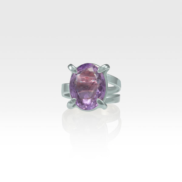 Multi-Facets Amethyst Oval Ring Silver
