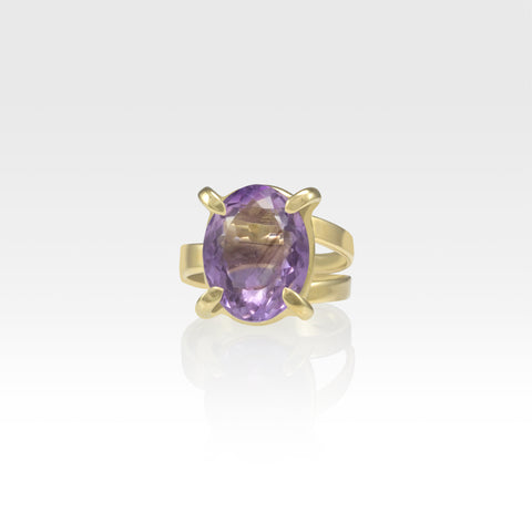 Multi-Facets Amethyst Oval Ring