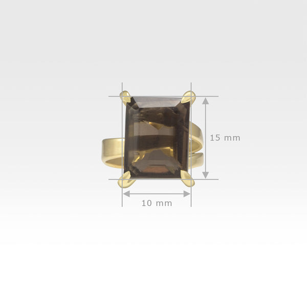 Multi-Facets Smoky Quartz Rectangular Ring Measurements