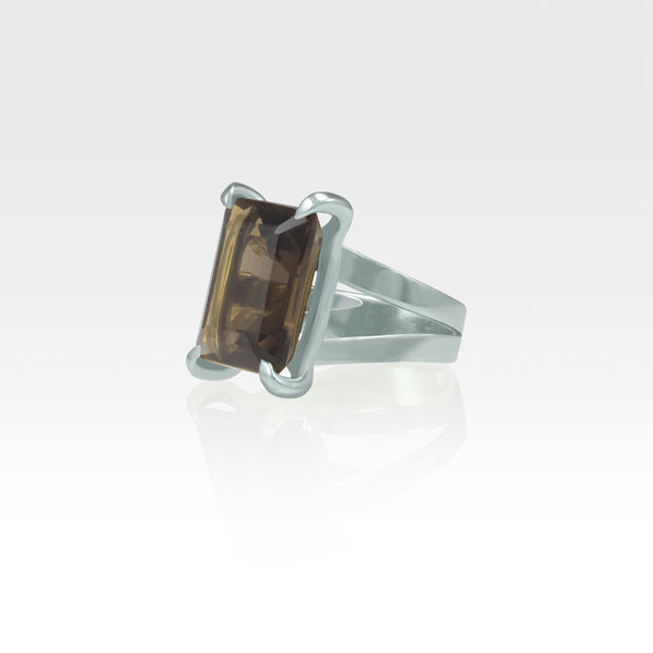 Multi-Facets Smoky Quartz Rectangular Ring Silver Side View