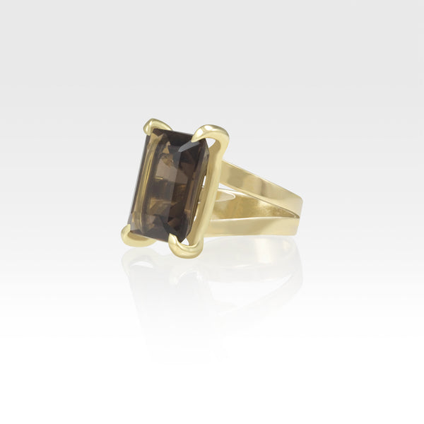 Multi-Facets Smoky Quartz Rectangular Ring Side View