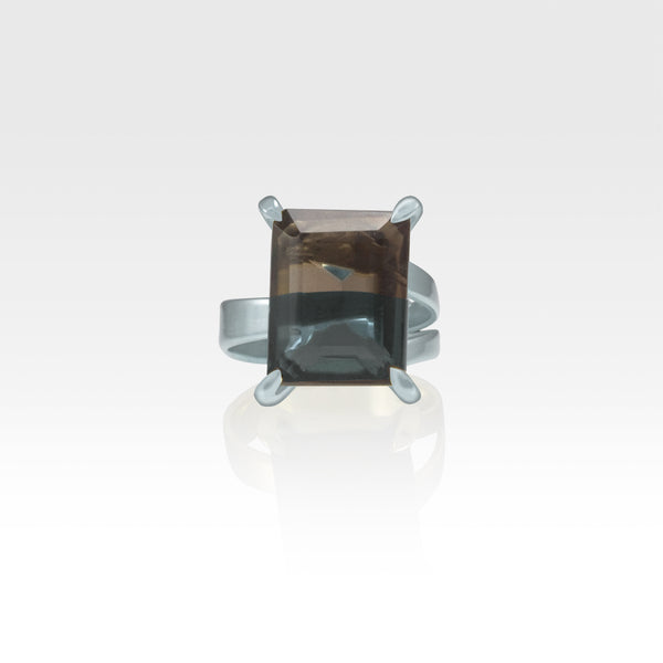 Multi-Facets Smoky Quartz Rectangular Ring Silver