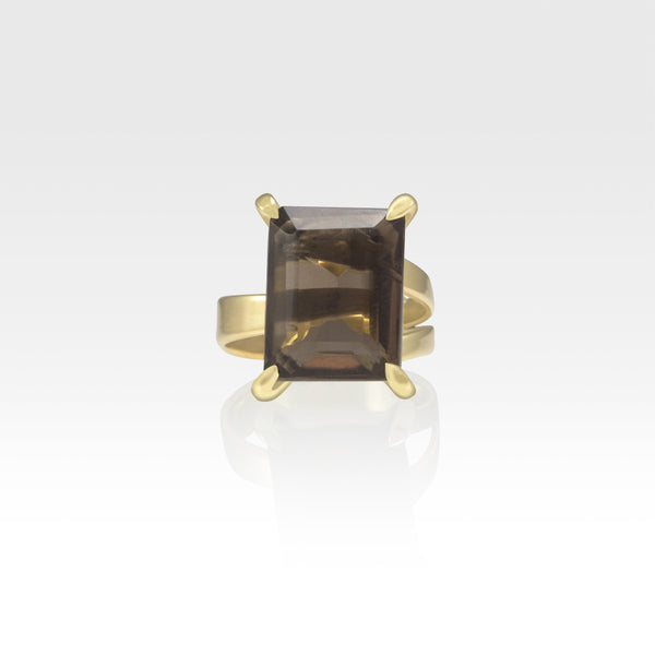Multi-Facets Smoky Quartz Rectangular Ring