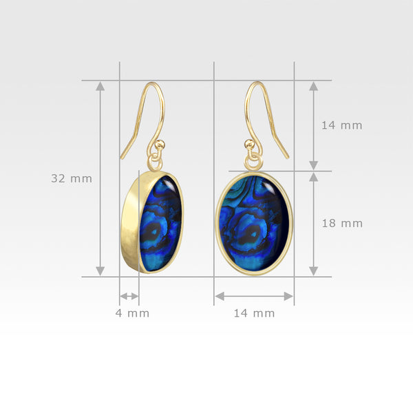 Oval Earrings - Blue Abalone Shell Measurements