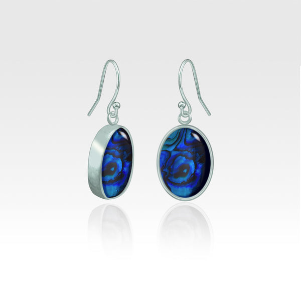 Oval Earrings - Blue Abalone Shell Silver