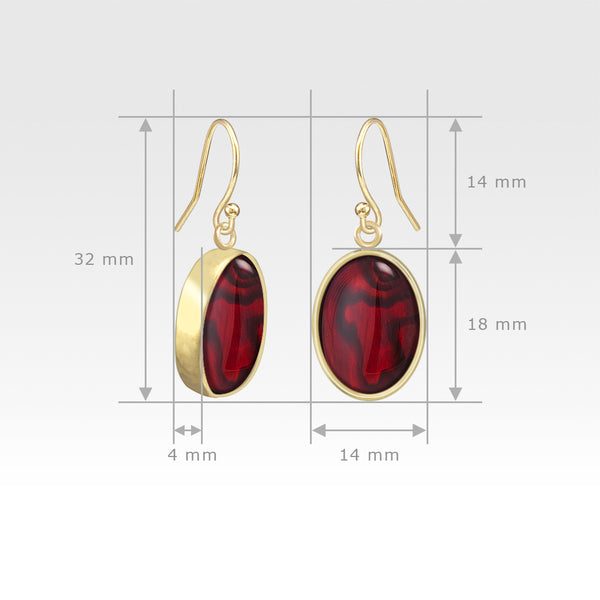 Oval Earrings - Red Abalone Shell Measurements