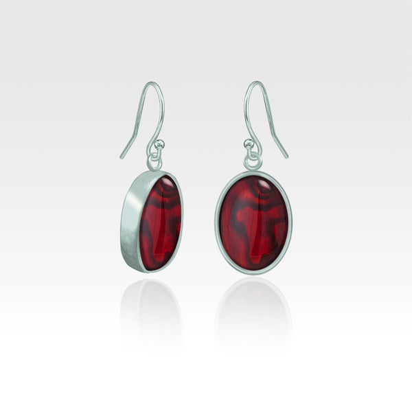 Oval Earrings - Red Abalone Shell Silver