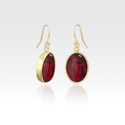Oval Earrings - Red Abalone Shell