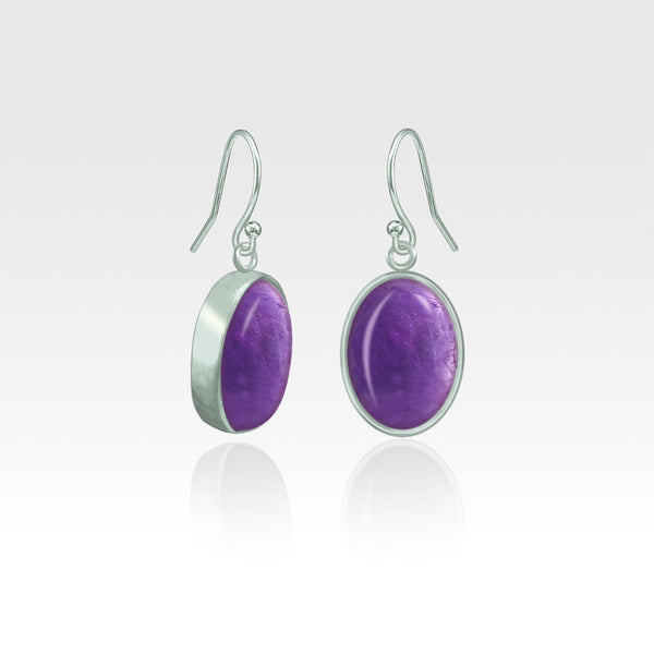Oval Earrings - Amethyst Silver