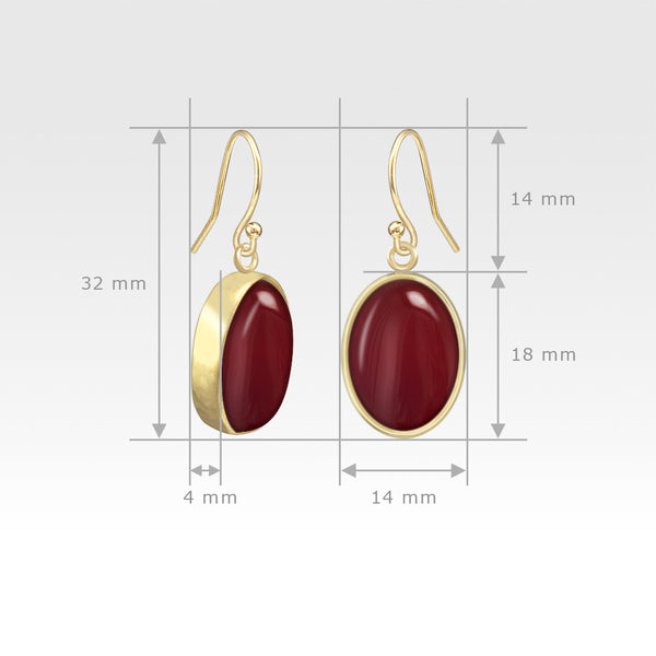 Oval Earrings - Carnelian Measurements