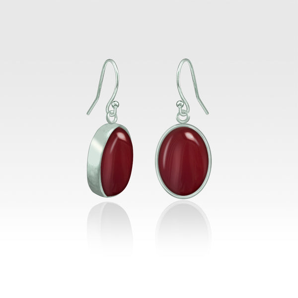 Oval Earrings - Carnelian Silver
