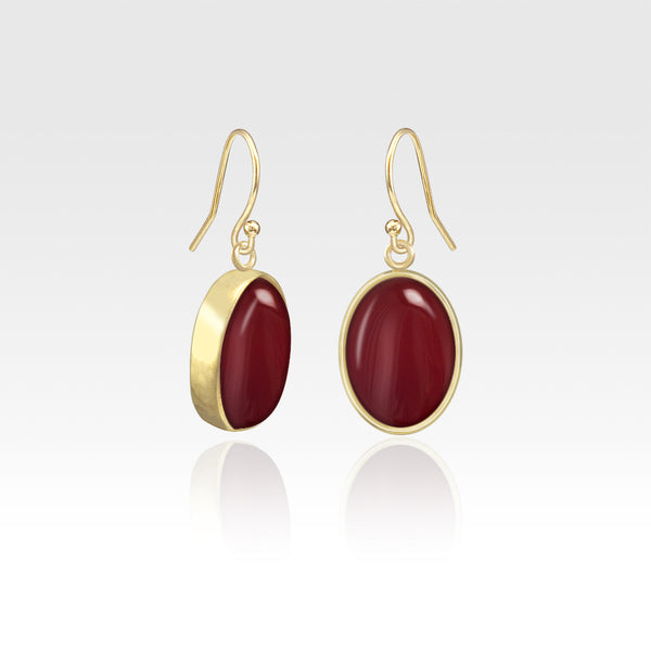 Oval Earrings - Carnelian