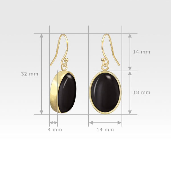 Oval Earrings - Black Onyx Measurements