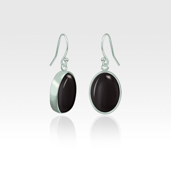 Oval Earrings - Black Onyx Silver