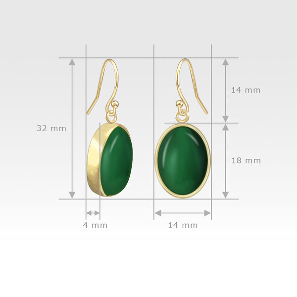 Oval Earrings - Green Onyx Measurements