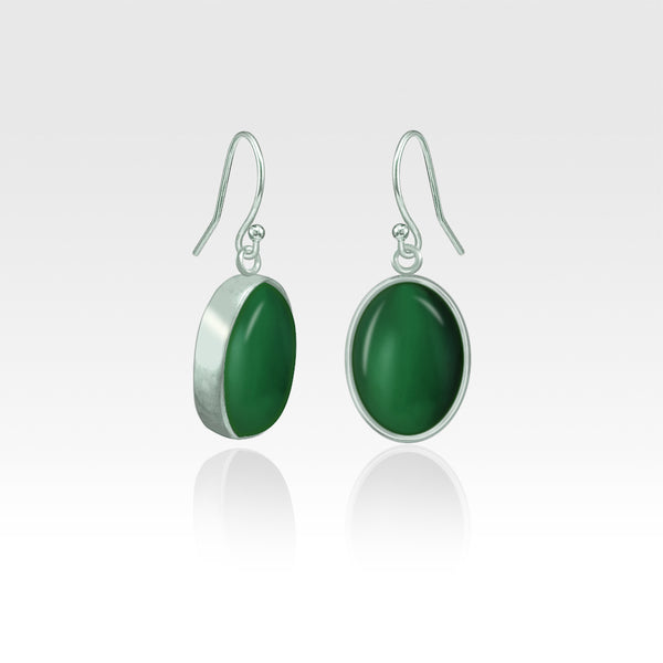 Oval Earrings - Green Onyx Silver