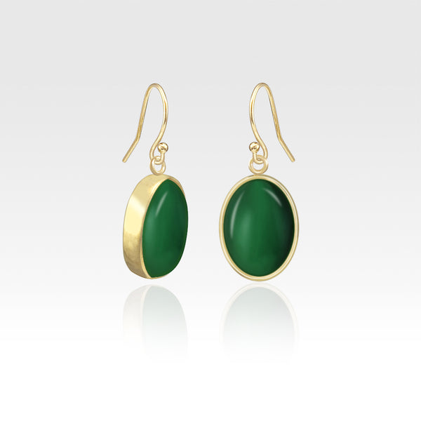Oval Earrings - Green Onyx