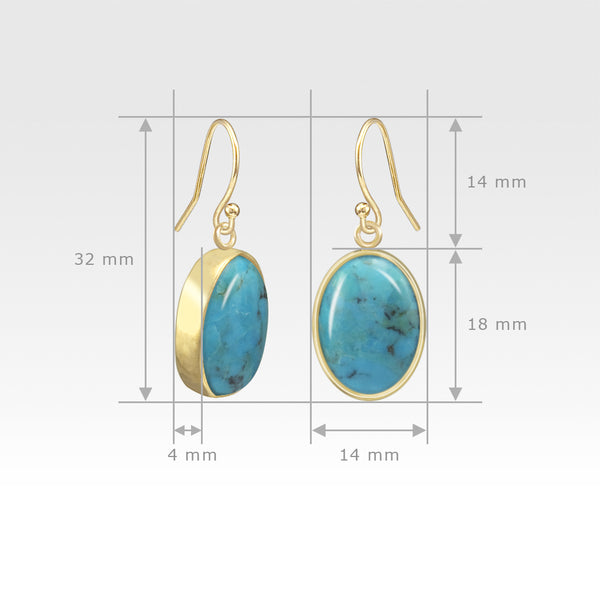 Oval Earrings - Turquoise Measurements