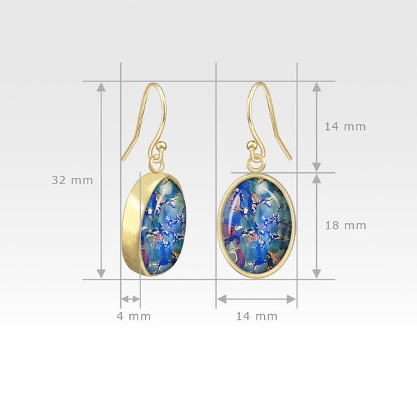 Oval Earrings - Vintage Glass Blue Measurements