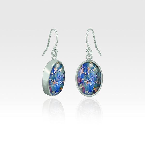 Oval Earrings - Vintage Glass Blue Silver