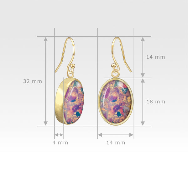 Oval Earrings - Vintage Glass Opal Measurements