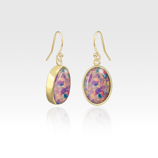 Oval Earrings - Vintage Glass Opal
