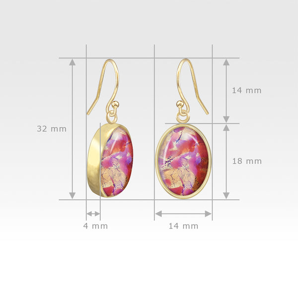 Oval Earrings - Vintage Glass Pink Measurements