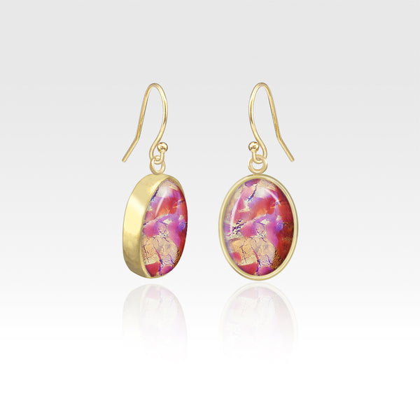 Oval Earrings - Vintage Glass Pink
