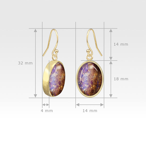 Oval Earrings - Vintage Glass Purple Measurements