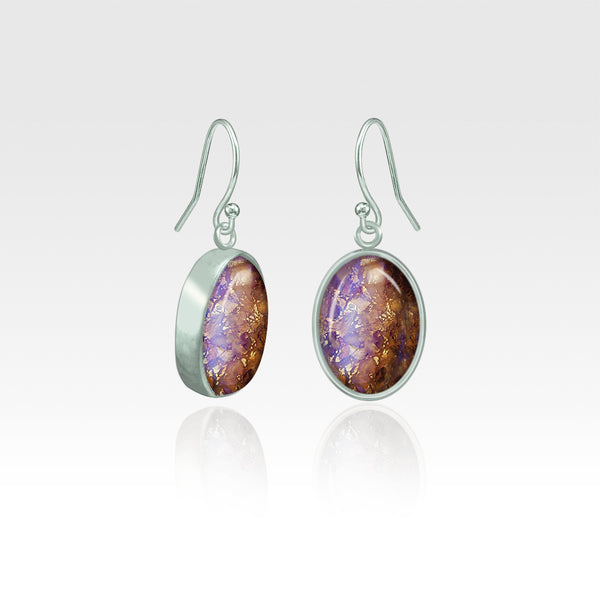 Oval Earrings - Vintage Glass Purple Silver
