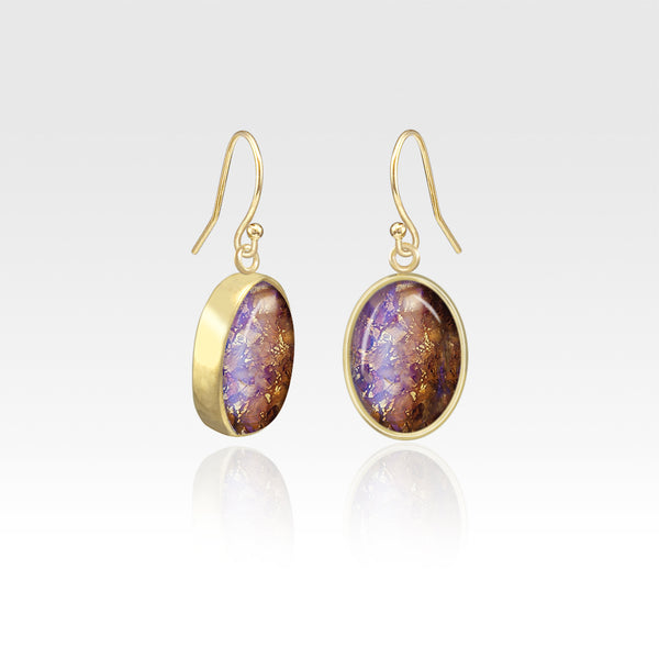 Oval Earrings - Vintage Glass Purple