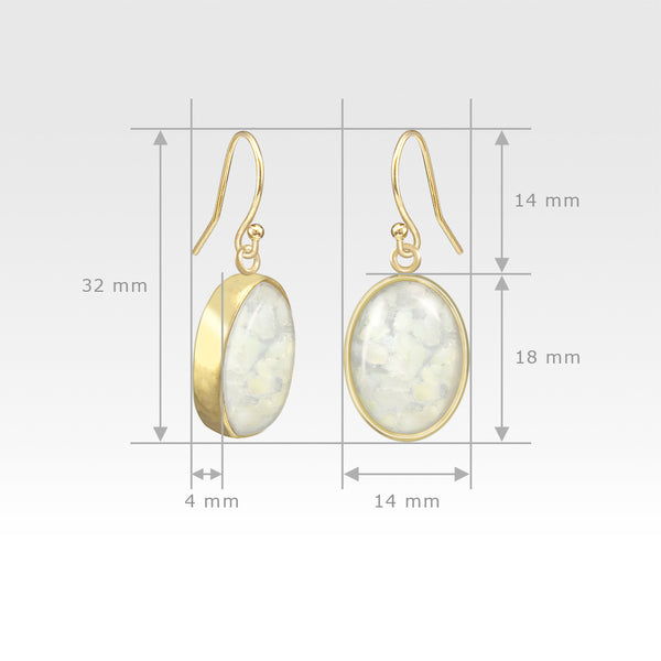 Oval Earrings - Vintage Glass White Measurements