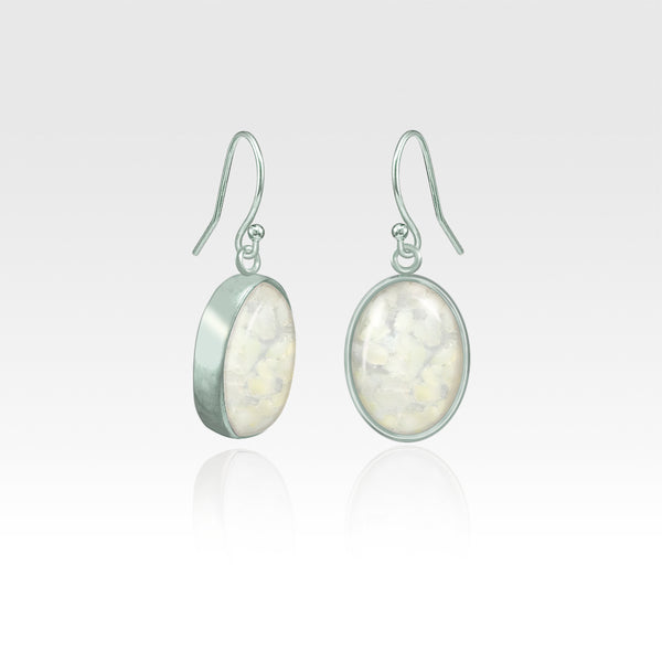 Oval Earrings - Vintage Glass White Silver