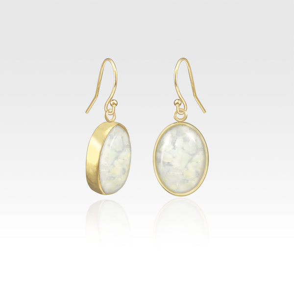 Oval Earrings - Vintage Glass White