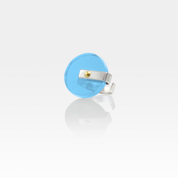 Plexiglas Rivet Circle Ring - Light Blue