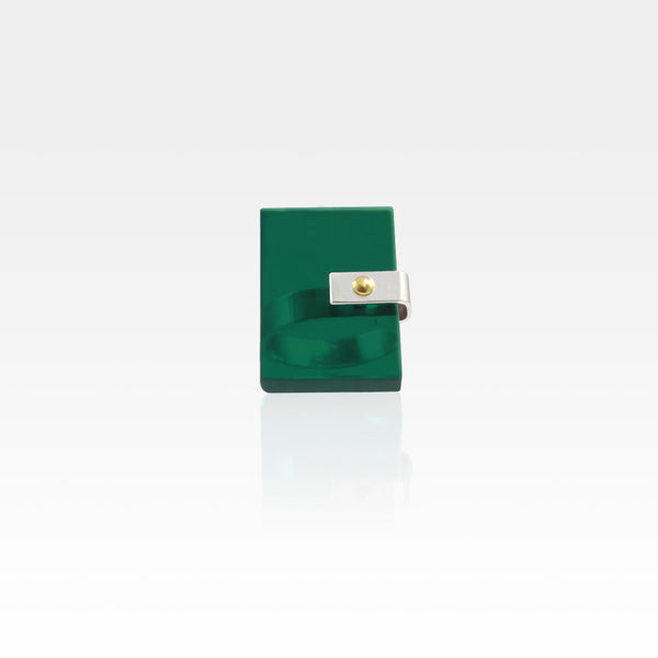 Plexiglas Rivet Rectangle Ring - Green