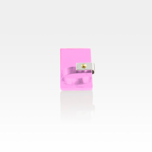 Plexiglas Rivet Rectangle Ring - Pink
