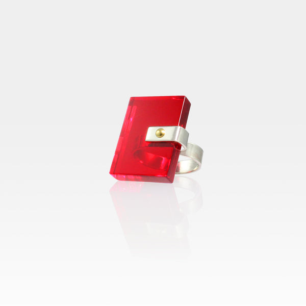 Plexiglas Rivet Rectangle Ring - Red