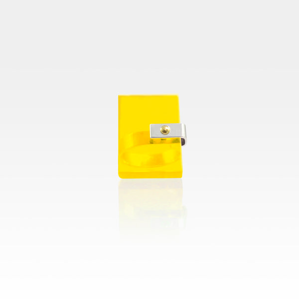Plexiglas Rivet Rectangle Ring - Yellow
