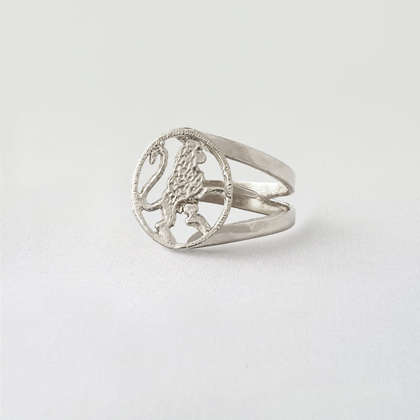 Star Signs Leo Ring Silver Side